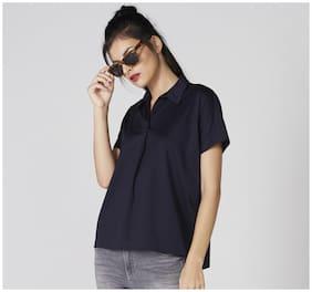 Splash Women Cotton Solid - Shirt Style Blue