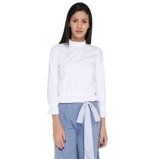 Splash Women Cotton Solid - Regular Top White