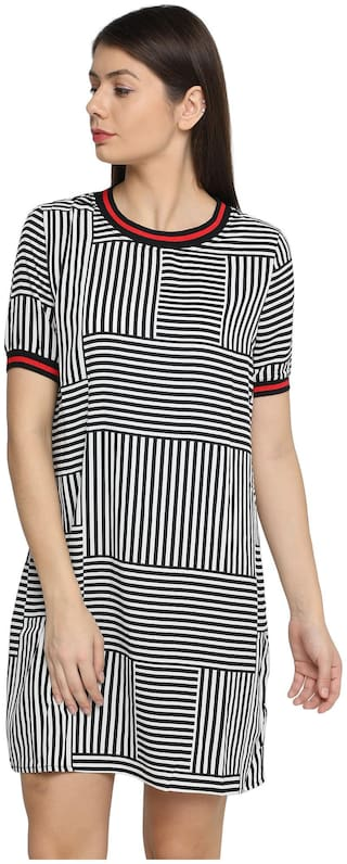 Splash Women Striped Regular top - Black