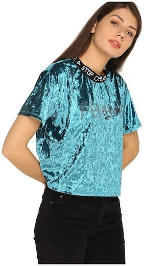 Splash Women Cotton Self design - Regular top Green