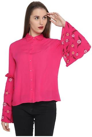 Splash Women Viscose Solid - Regular top Pink