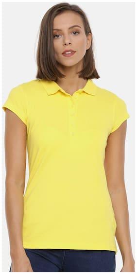 Splash Women Blended Solid - Regular top Yellow