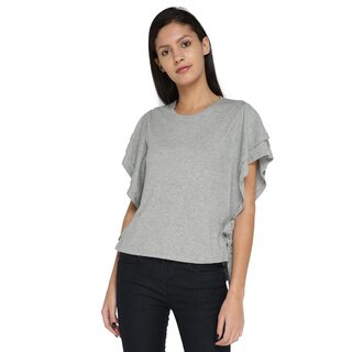 Splash Women Cotton Solid - Regular Top Grey