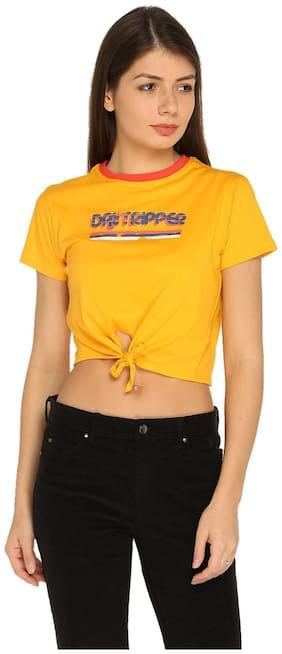 Splash Women Cotton Printed - Regular Top Yellow