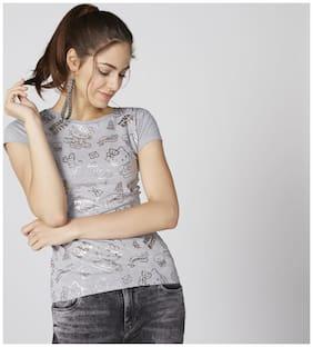 Splash Women Cotton Printed - Regular top Grey