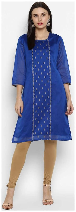 Spoorthi Women Blue Printed Straight Kurta