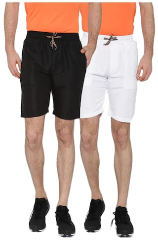 Sports 52 Wear Men's Polyester Pack Of Two Basic Shorts S52w148131_black/white_xl