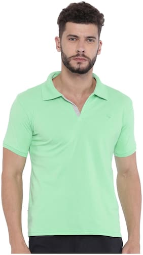 Sports52 wear Men's Blended Green Polo Collar Tshirts