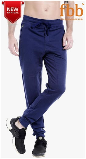 Spunk Men Poly Cotton Track Pants - Blue