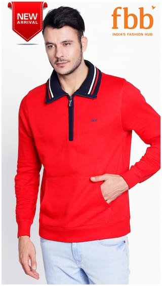 Spunk Solid Polo Men's Red Sweatshirt