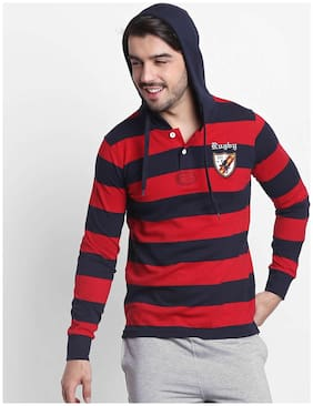 Men Hood Striped T-Shirt