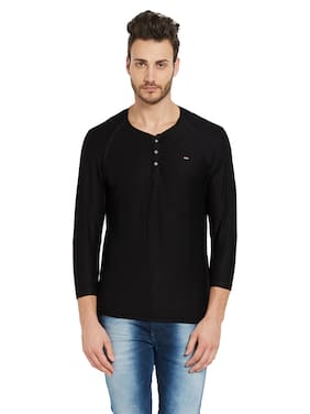 Spykar Men Slim fit Henley neck Solid T-Shirt - Black