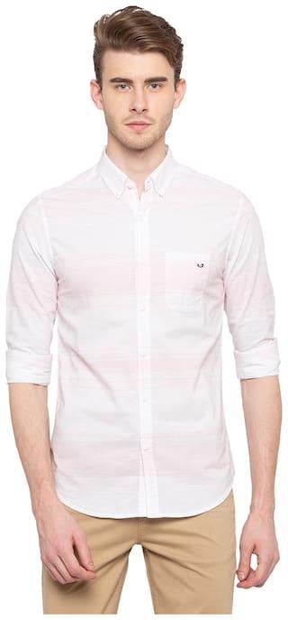 Spykar Men Pink Vertical Stripes Slim Fit Casual Shirt