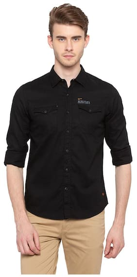 Spykar Men Slim Fit Casual shirt - Black