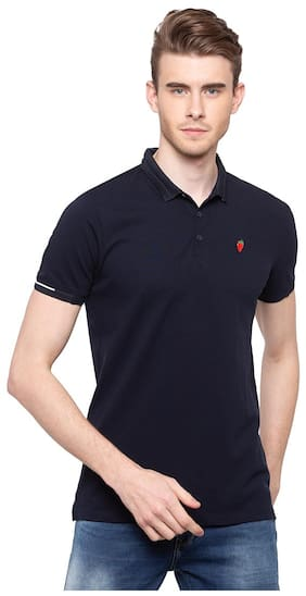 Spykar Men Slim Fit Polo Neck Solid T-Shirt - Blue