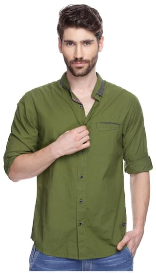 ebc4369915 Buy Spykar Mens Olive Slim Fit Mid Rise Casual Shirts Online at Low ...