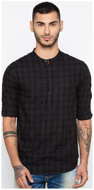Spykar Men Black & Grey Checked Slim Fit Casual Shirt