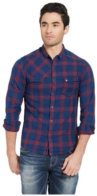 Spykar Men Super Slim Fit Casual shirt - Blue