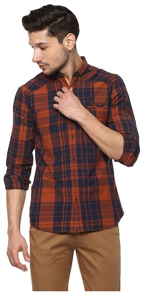 Spykar Mens Rust Slim Fit Casual Shirts