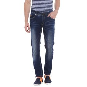 Spykar Mens Dark Blue Skinny Fit Low Rise Jeans