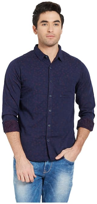 Spykar Men Blue Polka Dots Slim Fit Casual Shirt