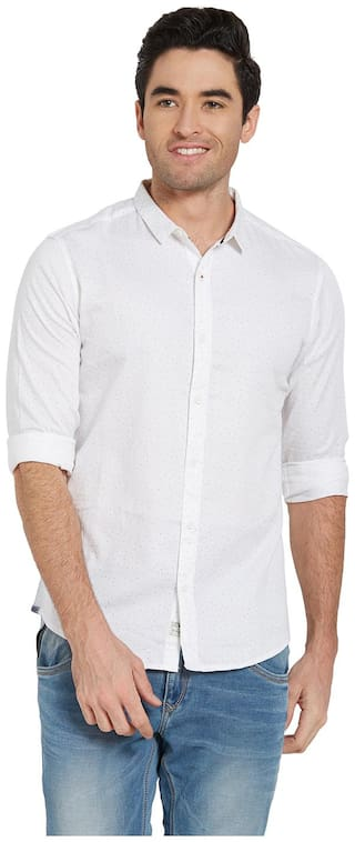 Spykar Men White Printed Slim Fit Casual Shirt