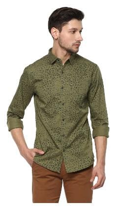 Spykar Mens Olive Slim Fit Casual Shirts