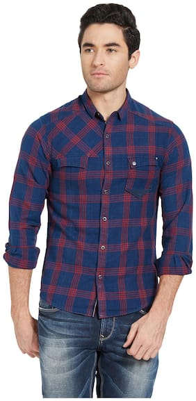 Men Super Slim Fit Checked Casual Shirt
