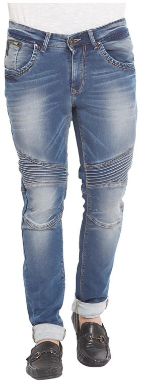 Spykar Mens Mid Blue Skinny Fit Low Rise Jeans ()