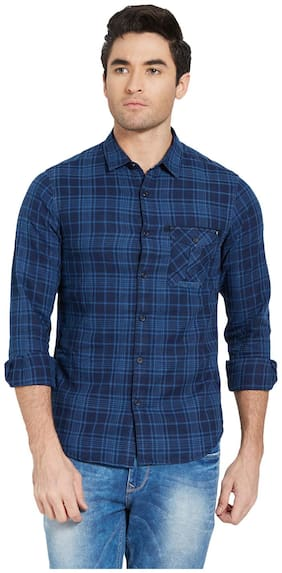 Men Regular Fit Plaid Casual Shirt