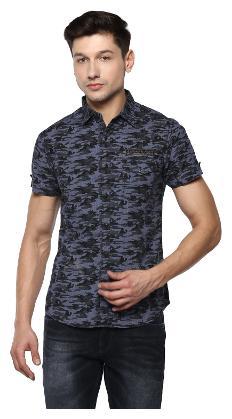 Spykar Men Blue Printed Slim Fit Casual Shirt