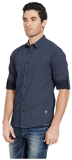 Spykar Mens Navy Slim Fit Casual Shirts