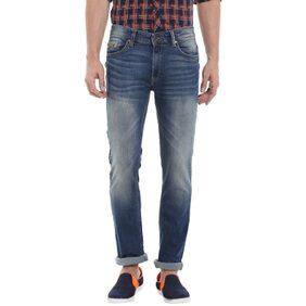 Spykar Mens Dark Blue Slim Fit Low Rise Jeans