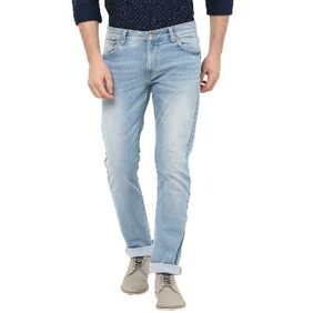 Spykar Mens Light Blue Narrow Fit Low Rise Jeans