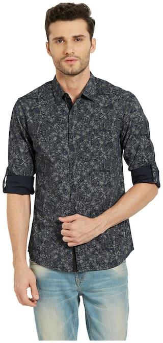 Spykar Men Black Printed Slim Fit Casual Shirt