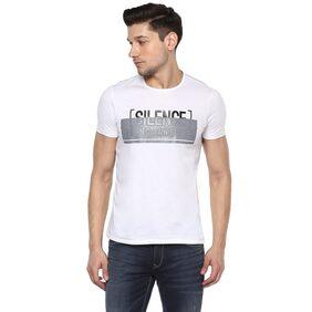 Spykar Men Slim Fit Round Neck Printed T-Shirt - White