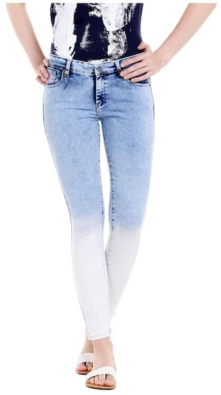 Spykar Womens Mid Blue Super Skinny Fit Low Rise Jeans (Actif Fit)