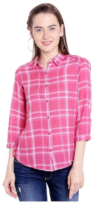 Spykar Womens Cotton Pink Regular Fit Tops