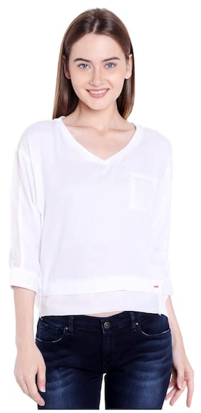 Spykar Womens Cotton Off White Regular Fit Tops