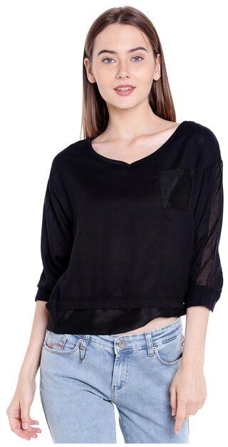 Spykar Womens Cotton Black Regular Fit Tops