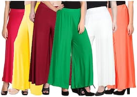 Sri Belha Fashions Ankle Length Lycra Palazzo For Women Pack Of- 6 - Free Size