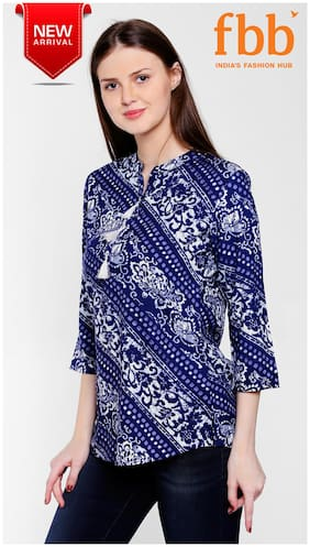 5cb7993d12727d Srishti Block Print Women s Blue Tunic with Tassel