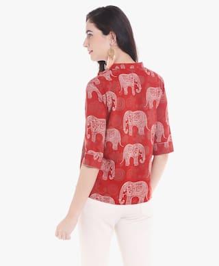 Crop Womens Elephant Srishti Print Shirt 1RZwvU