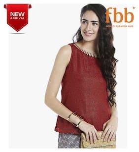 Srishti Embellished Women's Maroon Sleeveless Top