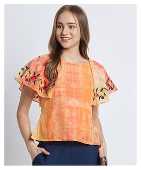 Women Embroidered Round Neck Top