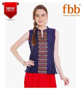 Srishti Embroidered Women's Navy Blue Top with Notch Neck