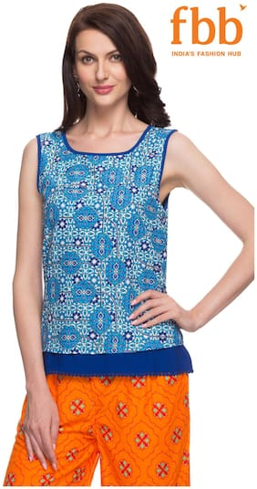Srishti Navy Printed Regular Women's Top