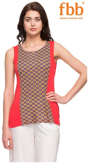 Srishti Red Printed Regular Women's Top