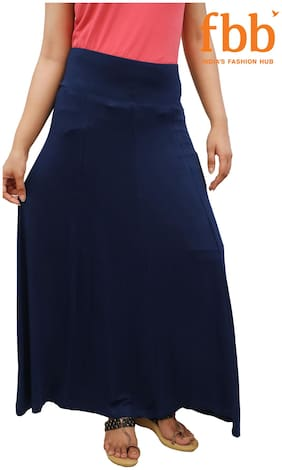 Srishti Solid Bodycon skirt Maxi Skirt - Blue