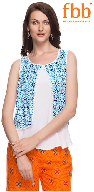 Srishti White Printed Regular Women's Top